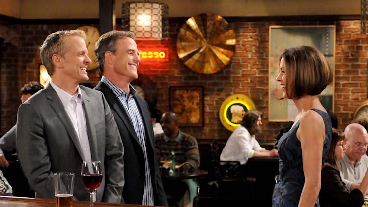 "Victoria meets her blind dates at the bar on ""Hot In Cleveland."""