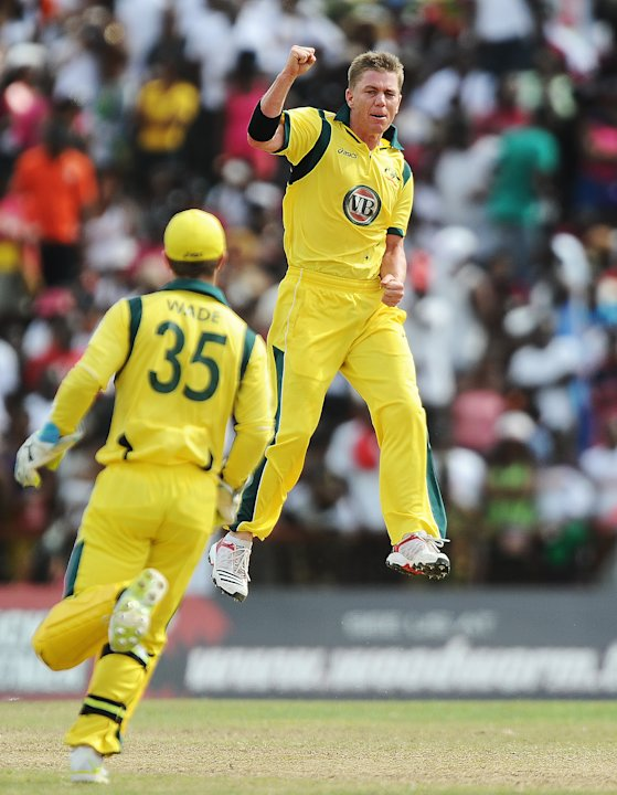 Australian bowler Xavier Doherty (R) and