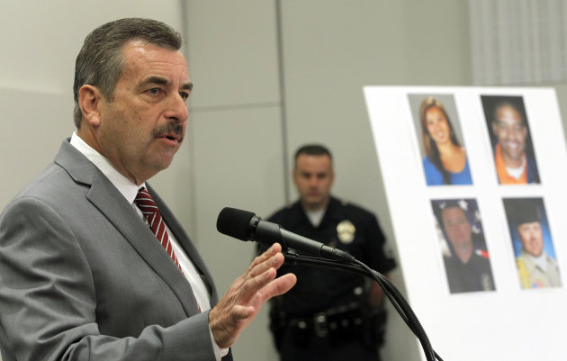 Los Angeles Police Chief Charlie Beck speaks at a new conference, Tuesday Feb. 19, 2013 in Los Angeles. Beck said the review of ex-officer Dorner&#39;s firing is under way, but it&#39;s too early to comment on the re-examination. (AP Photo/Nick Ut)