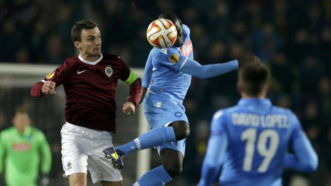 Sparta Praha's Lafata challenges Napoli's Koulibaly during their Europa League soccer match at Stadion Letna in Prague