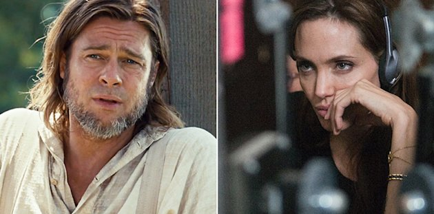 Brad Pitt in '12 Years a Slave'; Angelina Jolie on the set of 'In the Land of Blood and Honey'
