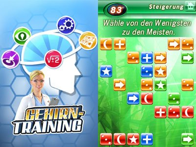 Bleiben Sie fit im Kopf! Apps wie &quot;Gehirntraining&quot; schulen die grauen Zellen. (Screenshots: iTunes/Gameloft)