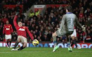 MANCHESTER, ENGLAND - DECEMBER 26:  Javier Hernandez of Manchester United scores the winning goal past Tim Krul of Newcastle United during the Barclays Premier League match between Manchester United and Newcastle United at Old Trafford December 26, 2012 in Manchester, England.  (Photo by Clive Brunskill/Getty Images)