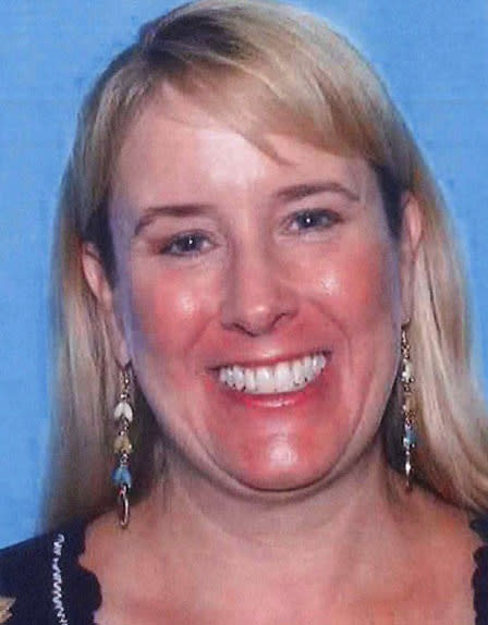 ADDS THAT MICHELLE MARIE CAREY-CHARBA WAS CONFIRMED DEAD WEDNESDAY, MAY 27 - This handout photo provided by the Hays County Sheriff's Office shows Michelle Carey-Charba, who had bee missing since Sunday. Carey-Charba was confirmed as a storm related death on Wednesday, May 27, 2015. More than 100 people continued to search along the Blanco River on Wednesday for other bodies but were slowed by large debris fields. (Hays County Sheriff's Office, via AP)