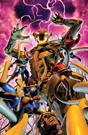 """This image provided by Marvel Comics shows cover art from """"Age of Ultron"""" No. 10.  Writer Neil Gaiman, whose previous comic outings include revered runs on """"The Sandman"""" and """"Marvel 1602,"""" will be preceded by the red-haired heavenly bounty hunter Angela in the pages of """"Age of Ultron"""" No. 10 in June. (AP Photo/Marvel Comics)"""