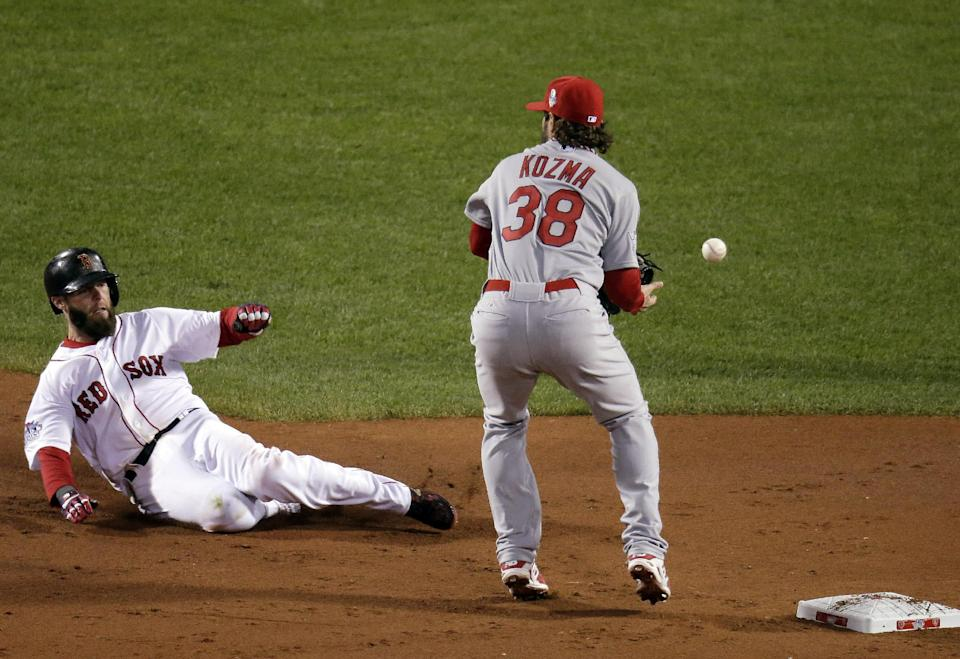 St. Louis Cardinals' Pete Kozma can't handle a throw as Boston Red Sox's Dustin Pedroia slides into second during the first inning of Game 1 of baseball's World Series Wednesday, Oct. 23, 2013, in Boston. (AP Photo/Charlie Riedel)