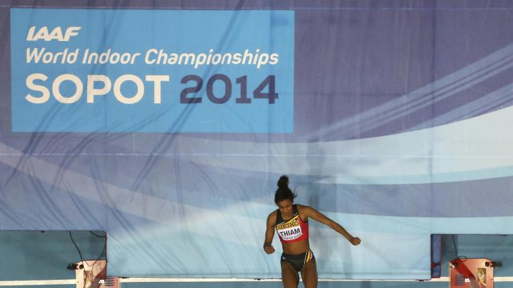 Belgium's Thiam competes in women's high jump qualification at world indoor athletics championships in Sopot