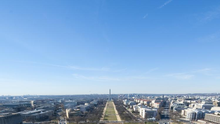 The National Mall in Washington is seen looking west from atop the U.S. Capitol dome during a media tour in Washington