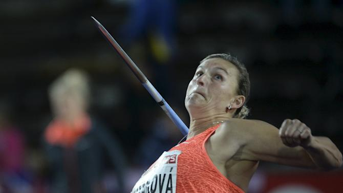 Spotakova of the Czech Republic competes to win the women's javelin throw event at the IAAF Athletics Diamond League meeting in the Stockholm Olympic Stadium