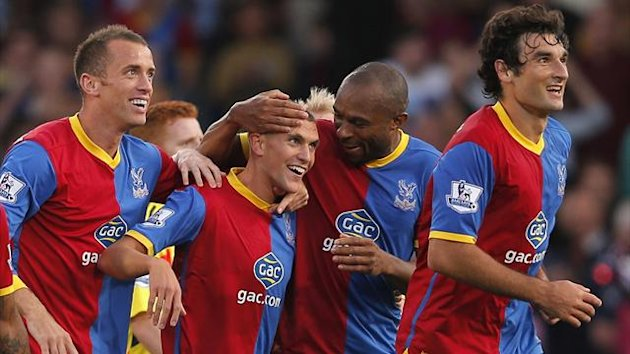 Crystal Palace's Stuart O'Keefe (2nd L) celebrates his goal against Sunderland