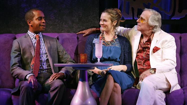 """This theater image released by Sam Rudy Media Relations shows Daniel Breaker, from left, Alicia Silverstone and Henry Winkler during a performance of """"The Performers,"""" in New York. (AP Photo/Sam Rudy Media Relations, Carol Rosegg)"""
