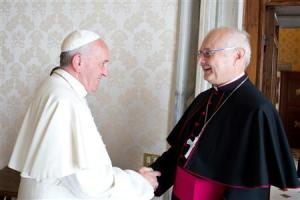 Pope Francis meets Archbishop Zollitsch, head of the German bishops' conference, during a private audience at the Vatican