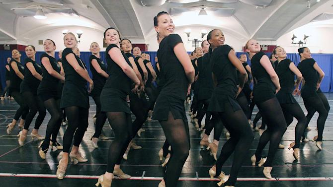FILE - This Oct. 18, 2012 file image released by Starpix shows Rockettes dancers rehearsing for the Radio City Christmas Spectacular at the St. Paul the Apostle Church in New York. The Radio City Christmas Spectacular will celebrate its 85th anniversary of the Rockettes this year. The show opens Nov. 9 through Dec. 30. (AP Photo/Starpix, Dave Allocca, file)
