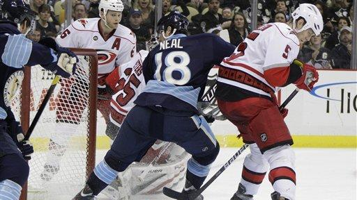 Neal nets 21st, Penguins beat Hurricanes 4-2
