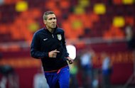 Atletico Madrid coach Diego Simeone trains with his team on May 8, ahead of the UEFA Europa League football final against Athletic Bilbao. Simeone has warned his Atletico players to be wary of an intense and fearless Athletic on Wednesday