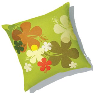 linen hibiscus pillow