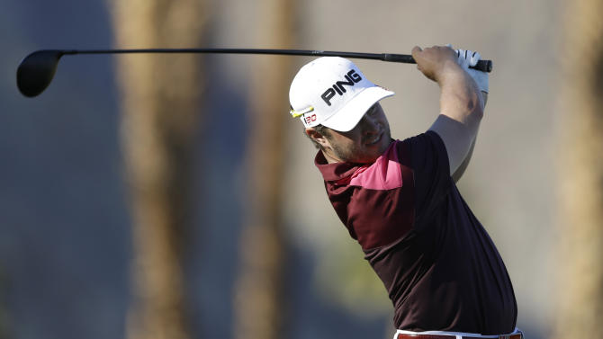 David Lingmerth swings off the 18th tee during the final round of the Humana Challenge PGA golf tournament on the Palmer Private Course at PGA West Sunday, Jan. 20, 2013, in La Quinta, Calif. (AP Photo/Ben Margot)