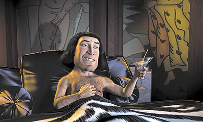 Lord Farquaad ( John Lithgow ) dreams of his royal bride to be in Dreamworks' Shrek