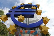 &lt;p&gt;A giant Euro symbol outside the European Central Bank in Frankfurt. Economic growth fell by 0.2 percent in the eurozone and the 27-member European Union in the second quarter compared with the first three-month period of the year, Eurostat estimated Tuesday.&lt;/p&gt;
