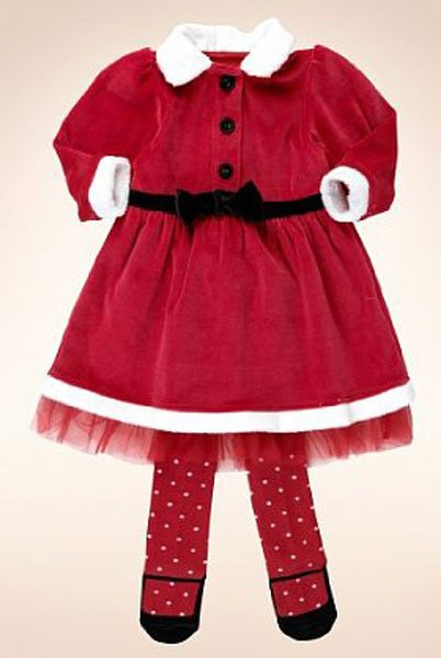 2 Piece Cotton Rich Santa Dress &amp; Tights Outfit