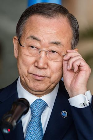 FILE-In this file photo taken on Tuesday April 1, 2014, United Nations Secretary General Ban Ki-moon addresses the media after the International Conference on Genocide Prevention at the Egmont Palace in Brussels. U.N. Secretary-General Ban Ki-moon vowed Saturday, April 5, 2014, that the world would not forget Central African Republic, as he visited the country wracked by sectarian violence that has left thousands dead and forced most of the nation's Muslims to flee. (AP Photo/Geert Vanden Wijngaert,File)