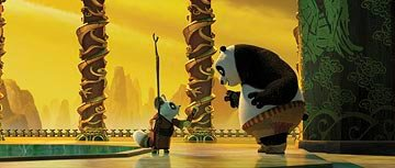 Shifu (voiced by Dustin Hoffman ) and Po (voiced by Jack Black ) in DreamWorks Animation's Kung Fu Panda