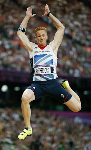 Britain's Greg Rutherford competes in the men's long jump during athletics competition in the Olympic Stadium at the 2012 Summer Olympics, Saturday, Aug. 4, 2012, in London.(AP Photo/Matt Dunham)