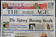 The front pages of Australian media giant Fairfax&#39;s newspapers &#39;The Age&#39; and &#39;The Sydney Morning Herald&#39; are displayed in Sydney, on June 18. Top editors at both papers resigned on Monday, after parent company Fairfax last week announced an overhaul designed to embrace the digital era