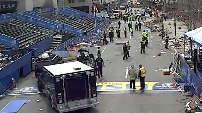 Police descend on the Boston Marathon finish line