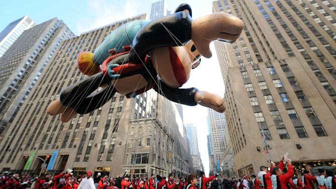 IMAGE DISTRIBUTED FOR SABAN BRANDS - Paul Frank's Julius soars through the streets of New York at the Macy's Thanksgiving Day Parade, Thursday Nov. 22, 2012.  (Photo by Diane Bondareff/Invision for Saban Bramds/AP Images)