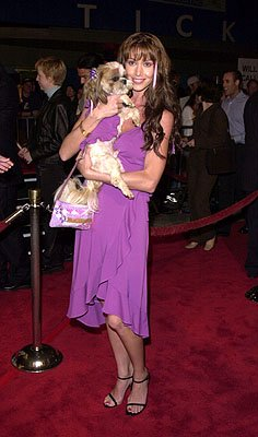 Shannon Elizabeth and puppy at the LA premiere for Columbia's Tomcats