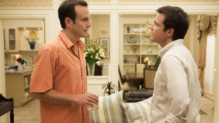 "This undated publicity photo released by Netflix shows Will Arnett, left, and Jason Bateman in a scene from ""Arrested Development."" If Netflix's ""House of Cards"" and ""Arrested Development"" become the first online shows to reap Emmy nominations Thursday, July 18, it will be a watershed moment for programs that don't need television sets to make a splash. (AP Photo/Netflix, Michael Yarish)"