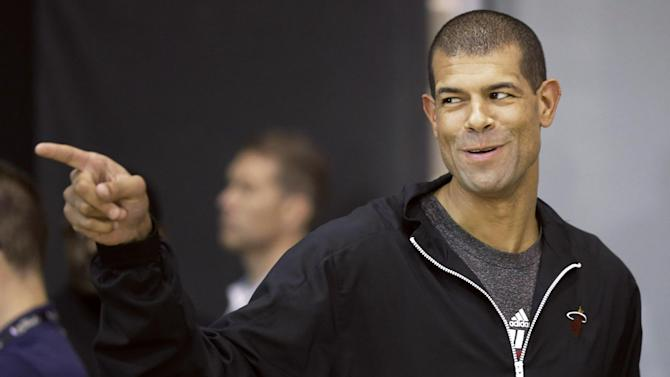 Miami Heat forward Shane Battier arrives at a media availability for the NBA basketball finals on Saturday, June 14, 2014, in San Antonio. Miami plays Game 5 against the San Antonio Spurs on Sunday