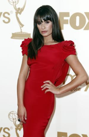 Lea Michele arrives at the 63rd Primetime Emmy Awards on Sunday, Sept. 18, 2011 in Los Angeles. (AP Photo/Matt Sayles)