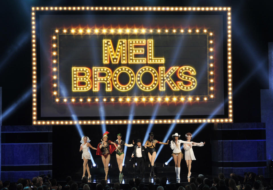 Martin Short and dancers perform a musical tribute to honoree Mel Brooks during the American Film Institute's 41st Lifetime Achievement Award Gala at the Dolby Theatre on Thursday, June 6, 2013 in Los Angeles. (Photo by Chris Pizello/Invision/AP)