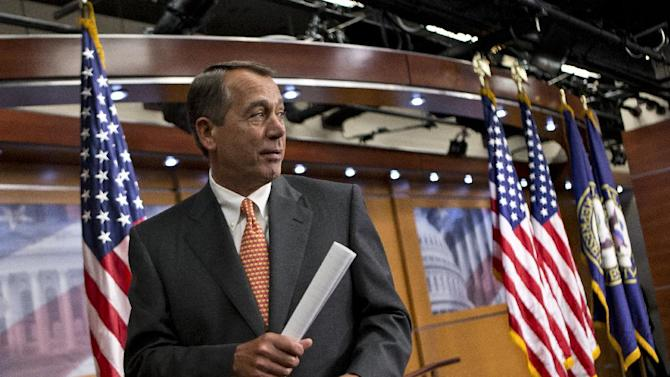 House Speaker John Boehner of Ohio leaves a news conference on Capitol Hill in Washington, Thursday, March 21, 2013, after the Republican-controlled House passed a tea party-flavored budget plan Thursday that promises sharp cuts in safety-net programs for the poor and a clampdown on domestic agencies, in sharp contrast to less austere plans favored by President Barack Obama and his Democratic allies.  (AP Photo/J. Scott Applewhite)