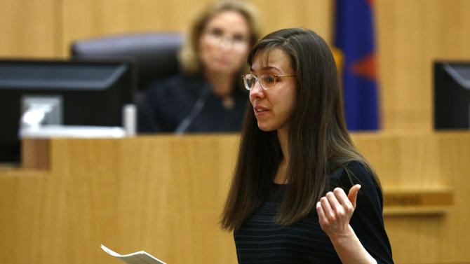Jodi Arias addresses the jury on Tuesday, May 21, 2013 during the penalty phase of her murder trial at Maricopa County Superior Court in Phoenix, AZ.  Jodi Arias was convicted of first-degree murder in the stabbing and shooting to death of Travis Alexander, 30, in his suburban Phoenix home in June 2008. (AP Photo/The Arizona Republic, Rob Schumacher, Pool)