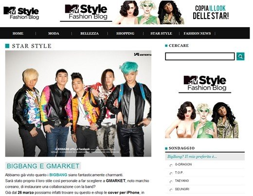 Big Bang Appears on Italys MTV Style Main Page
