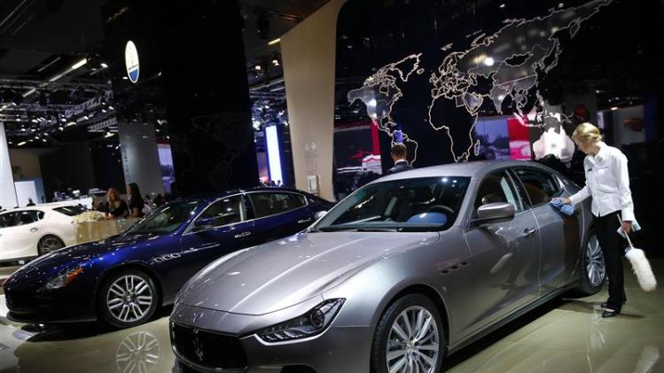 Maserati Ghibli car is polished by a worker at Frankfurt Motor Show