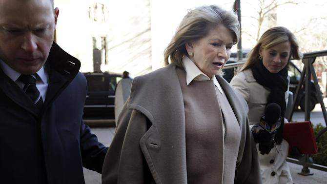 Martha Stewart arrives to court in New York, Tuesday, March 5, 2013. Macy's Inc. is suing the media and merchandising company Stewart founded for breaching an exclusive contract when she signed a deal with J.C. Penney in December 2011 to open shops at most of its stores this spring.(AP Photo/Seth Wenig)