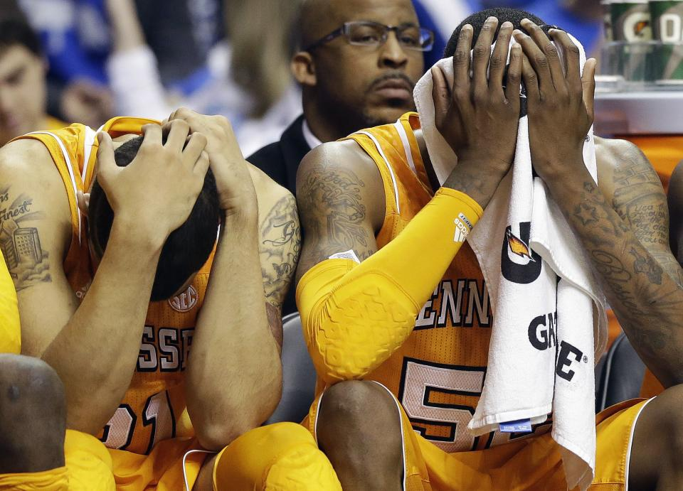 Tennessee guards Jordan McRae, right, and Quinton Chievous react after Alabama defeated Tennessee in an NCAA college basketball game at the Southeastern Conference tournament on Friday, March 15, 2013, in Nashville, Tenn. Alabama won 58-48. (AP Photo/John Bazemore)