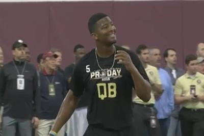 Jameis Winston's pro day receiver runs over an unsuspecting cameraman