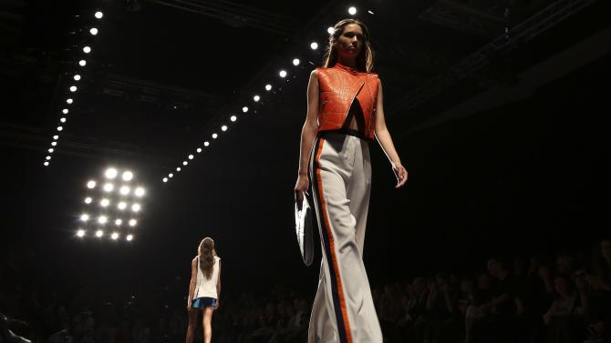 A model presents a creation from the Byblos Spring/Summer 2015 collection during Milan Fashion Week