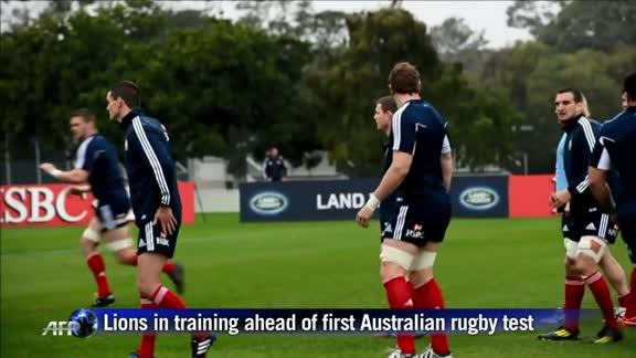 Lions in training ahead of first Australia rugby test