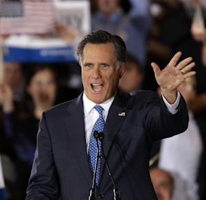 Republican presidential candidate, former Massachusetts Gov. Mitt Romney addresses supporters at his Super Tuesday campaign rally in Boston, Tuesday, March 6, 2012. (AP Photo/Stephan Savoia)