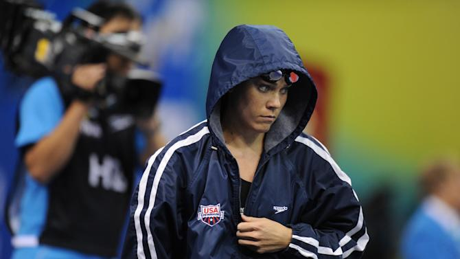US swimmer Natalie Coughlin arrives to compete in the final of the women's 100-metre freestyle swimming event in the FINA World Championships at the indoor stadium of the Oriental Sports Center in Shanghai on July 29, 2011. She finished eighth. AFP PHOTO / FRANCOIS XAVIER MARIT (Photo credit should read FRANCOIS XAVIER MARIT/AFP/Getty Images)