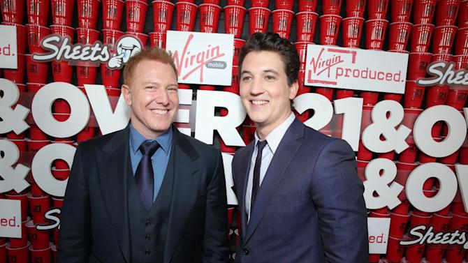 "Relativity Media's Ryan Kavanaugh and Miles Teller at the LA premiere of ""21 and Over"" at the Westwood Village Theatre on Thursday, Feb. 21, 2013 in Los Angeles. (Photo by Eric Charbonneau/Invision/AP)"