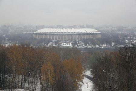 A general view of the Luzhniki Stadium, which is under construction, is seen in Moscow