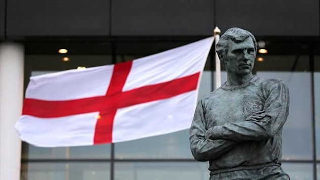 Bobby Moore's statue stands proudly outside Wembley