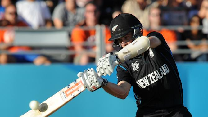 New Zealand's Kane Williamson bats during their Cricket World Cup match against Australia in Auckland, New Zealand, Saturday, Feb. 28, 2015. (AP Photo Ross Setford)